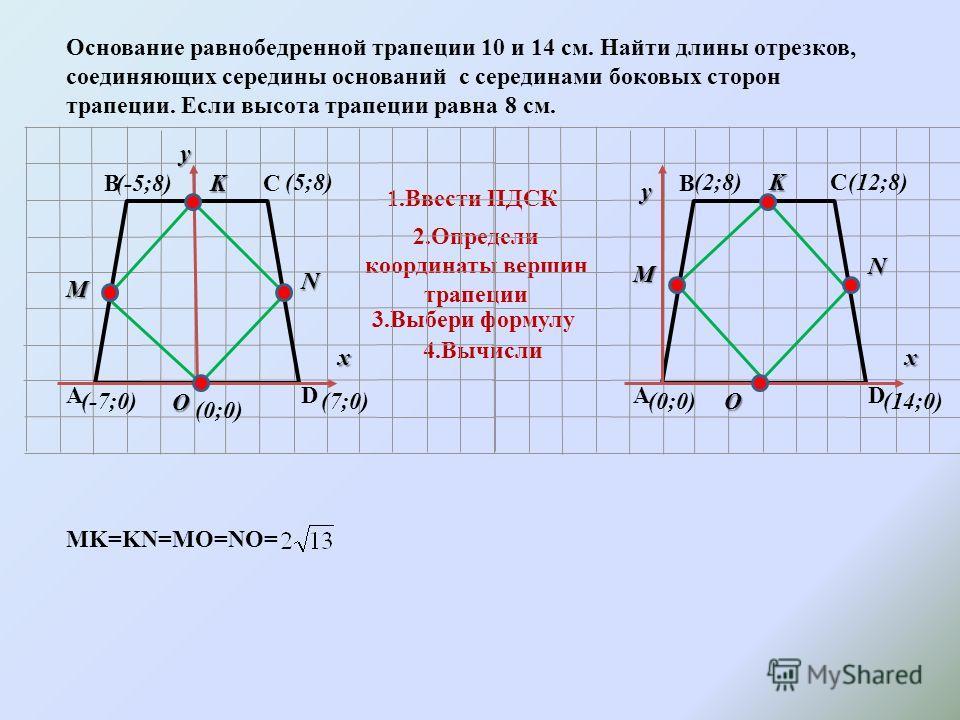 Основание равнобедренной трапеции 10 и 14 см. Найти длины отрезков, соединяющих середины оснований c серединами боковых сторон трапеции. Если высота трапеции равна 8 см. 1.Ввести ПДСК 2.Определи координаты вершин трапеции 3.Выбери формулу 4.Вычисли А