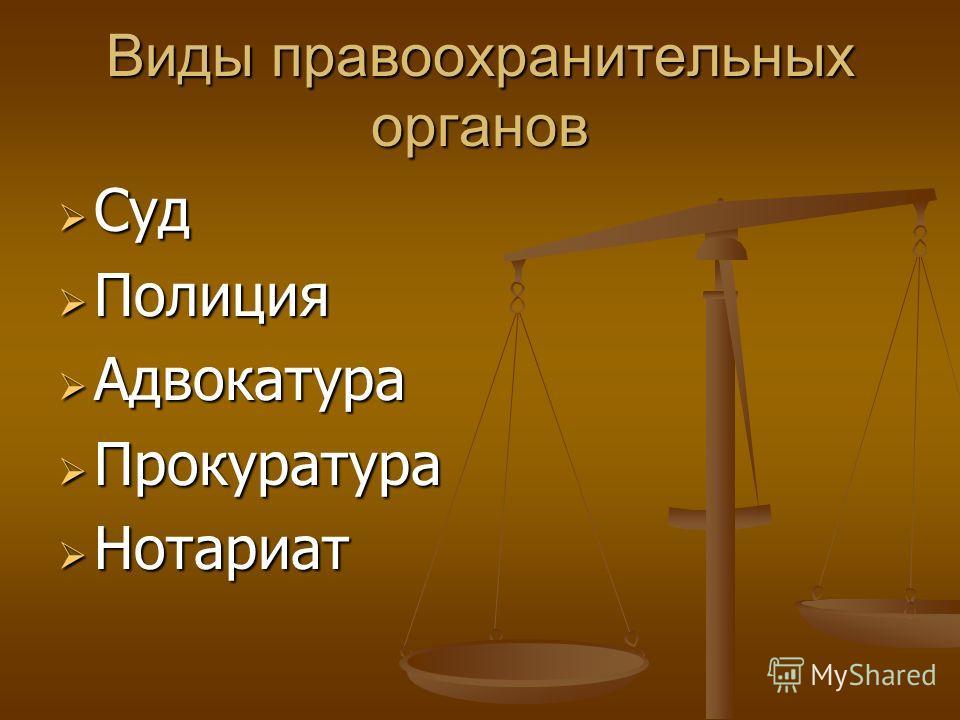 Виды правоохранительных органов Суд Суд Полиция Полиция Адвокатура Адвокатура Прокуратура Прокуратура Нотариат Нотариат