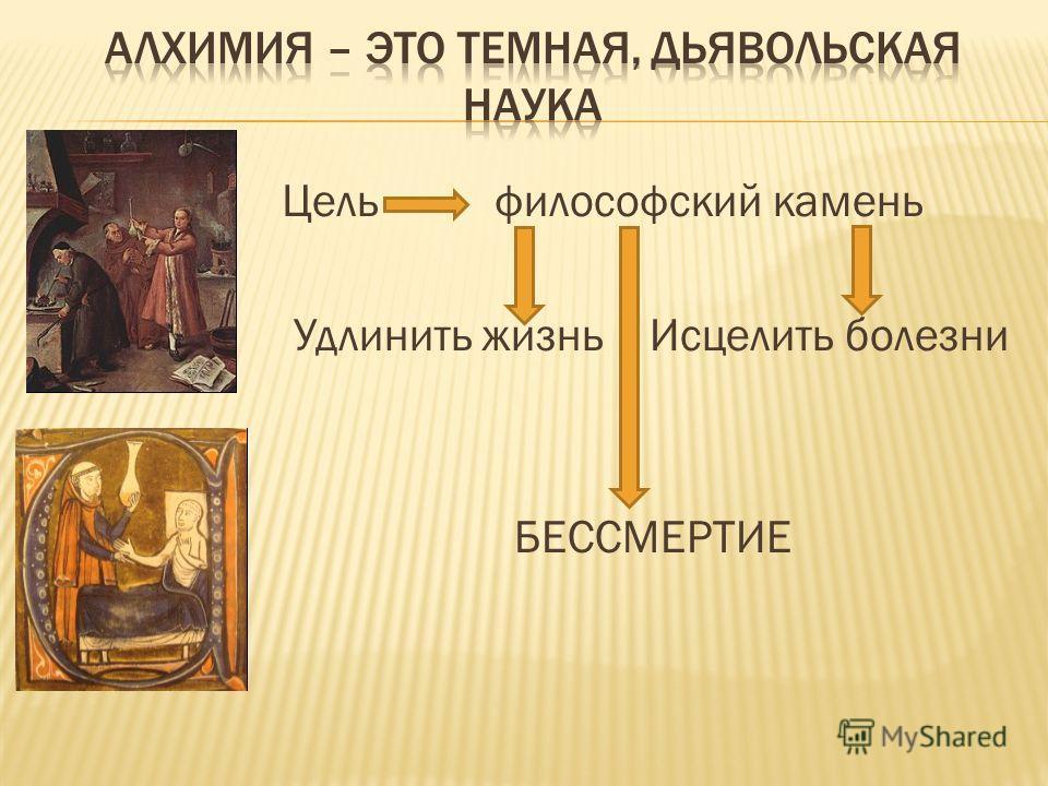 Цель философский камень Удлинить жизнь Исцелить болезни БЕССМЕРТИЕ