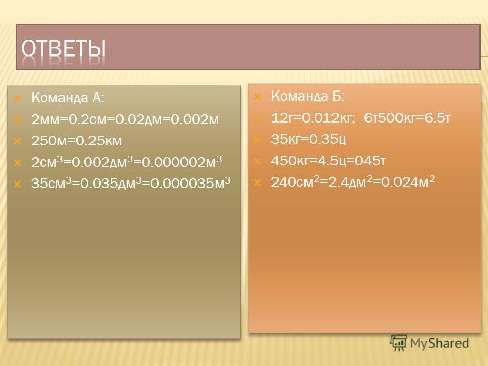 Команда А: 2мм=0.2см=0.02дм=0.002м 250м=0.25км 2см 3 =0.002дм 3 =0.000002м 3 35см 3 =0.035дм 3 =0.000035м 3 Команда А: 2мм=0.2см=0.02дм=0.002м 250м=0.25км 2см 3 =0.002дм 3 =0.000002м 3 35см 3 =0.035дм 3 =0.000035м 3 Команда Б: 12г=0.012кг; 6т500кг=6.