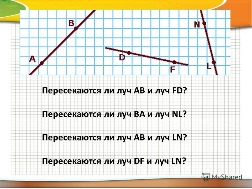 Пересекаются ли луч AB и луч FD? Пересекаются ли луч BA и луч NL? Пересекаются ли луч AB и луч LN? Пересекаются ли луч DF и луч LN?