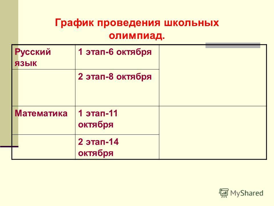 График проведения школьных олимпиад. Русский язык 1 этап-6 октября 2 этап-8 октября Математика1 этап-11 октября 2 этап-14 октября