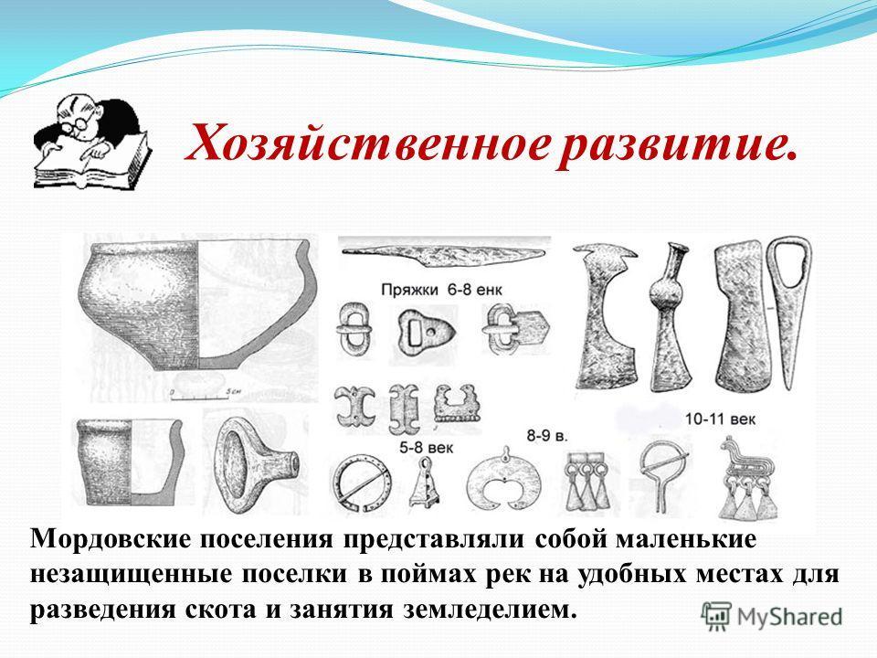 Хозяйственное развитие. Мордовские поселения представляли собой маленькие незащищенные поселки в поймах рек на удобных местах для разведения скота и занятия земледелием.