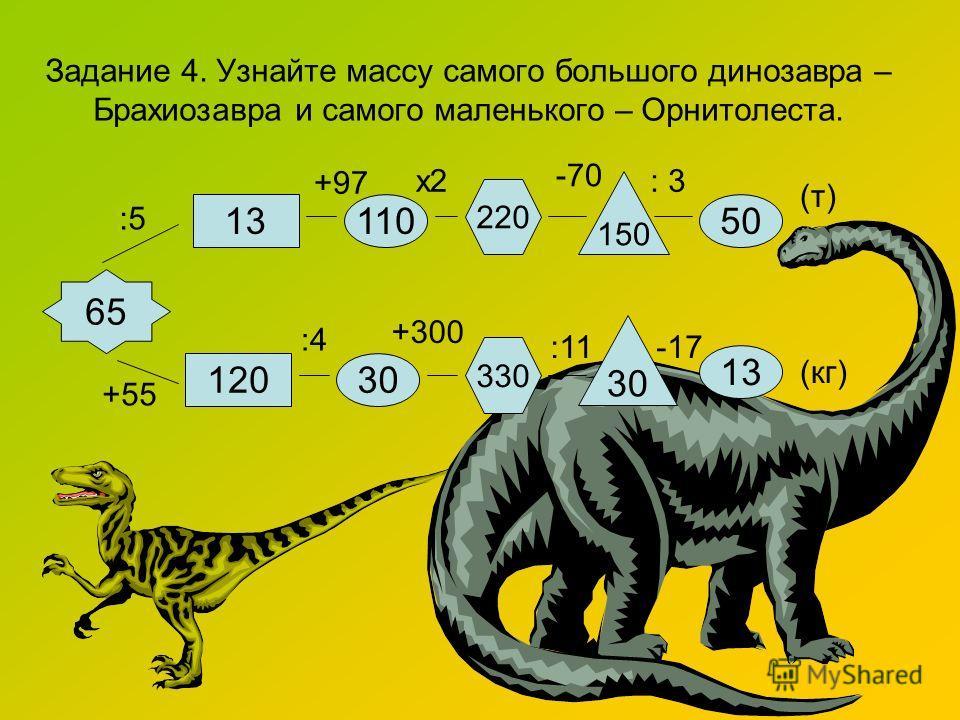 Задание 4. Узнайте массу самого большого динозавра – Брахиозавра и самого маленького – Орнитолеста. 13110 220 150 50 65 12030 330 30 13 (т) (кг) :5 х2 -70 :4 +300 :11 : 3 +97 -17 +55