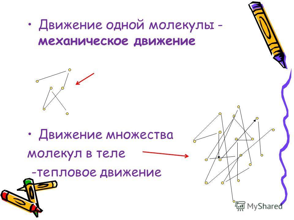 Движение одной молекулы - механическое движение Движение множества молекул в теле -тепловое движение