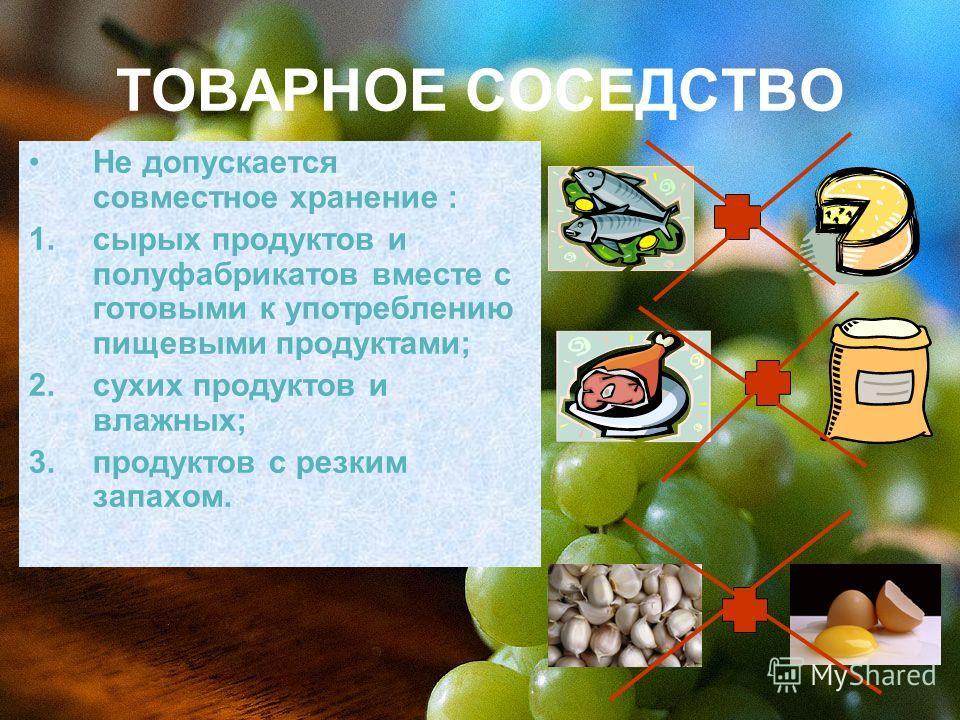 ТОВАРНОЕ СОСЕДСТВО Не допускается совместное хранение : 1.сырых продуктов и полуфабрикатов вместе с готовыми к употреблению пищевыми продуктами; 2.сухих продуктов и влажных; 3.продуктов с резким запахом.