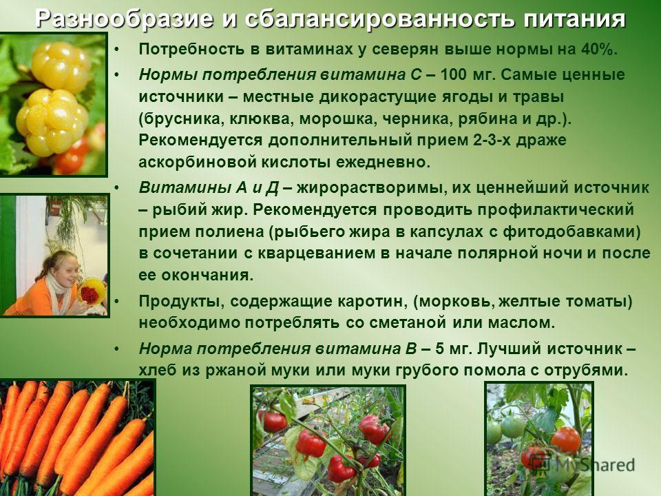 Разнообразие и сбалансированность питания Потребность в витаминах у северян выше нормы на 40%. Нормы потребления витамина С – 100 мг. Самые ценные источники – местные дикорастущие ягоды и травы (брусника, клюква, морошка, черника, рябина и др.). Реко