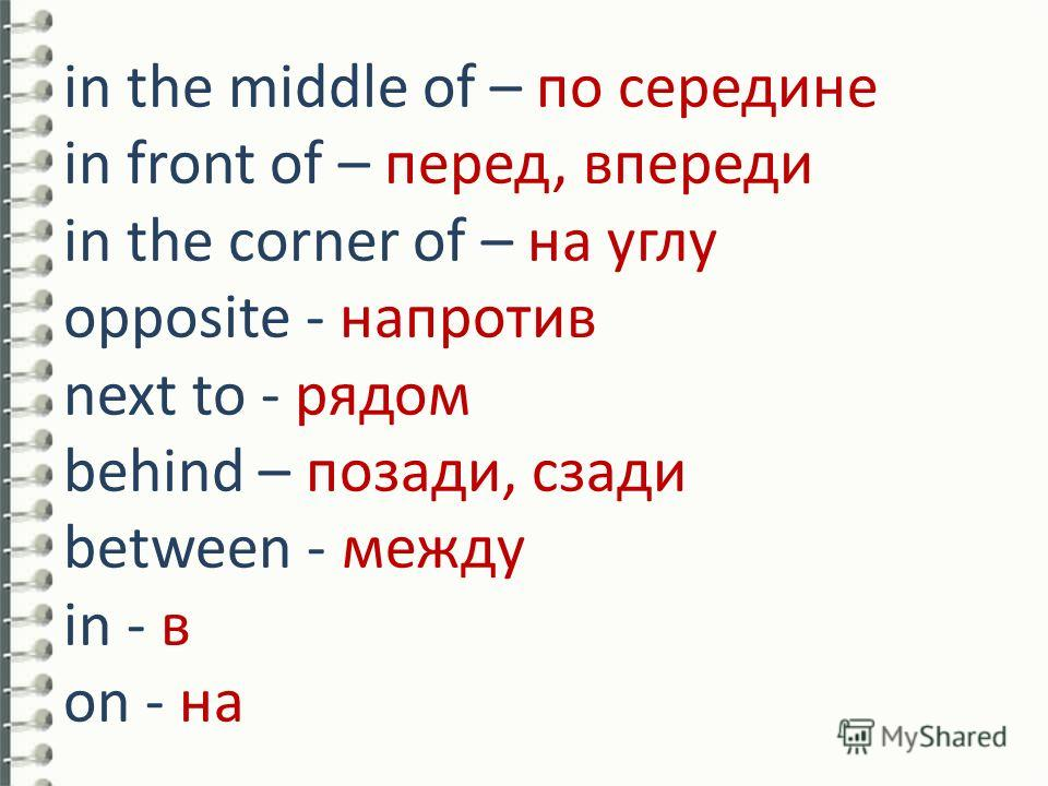 in the middle of – по середине in front of – перед, впереди in the corner of – на углу opposite - напротив next to - рядом behind – позади, сзади between - между in - в on - на