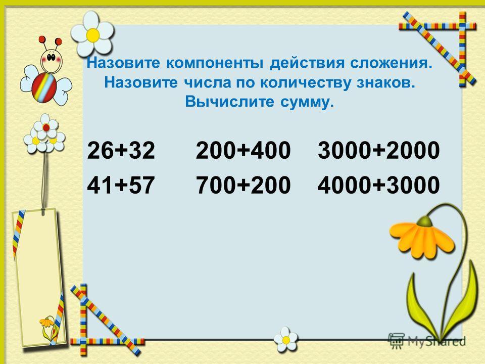 Назовите компоненты действия сложения. Назовите числа по количеству знаков. Вычислите сумму. 26+32 200+400 3000+2000 41+57 700+200 4000+3000