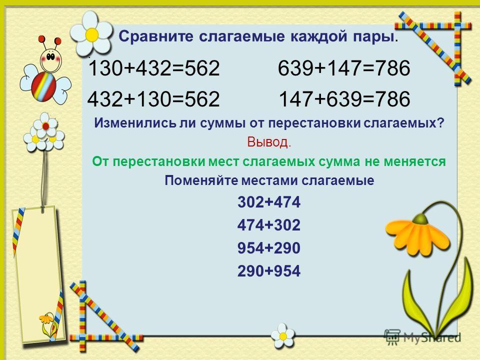 Сравните слагаемые каждой пары.. 130+432=562 639+147=786 432+130=562 147+639=786 Изменились ли суммы от перестановки слагаемых? Вывод. От перестановки мест слагаемых сумма не меняется Поменяйте местами слагаемые 302+474 474+302 954+290 290+954