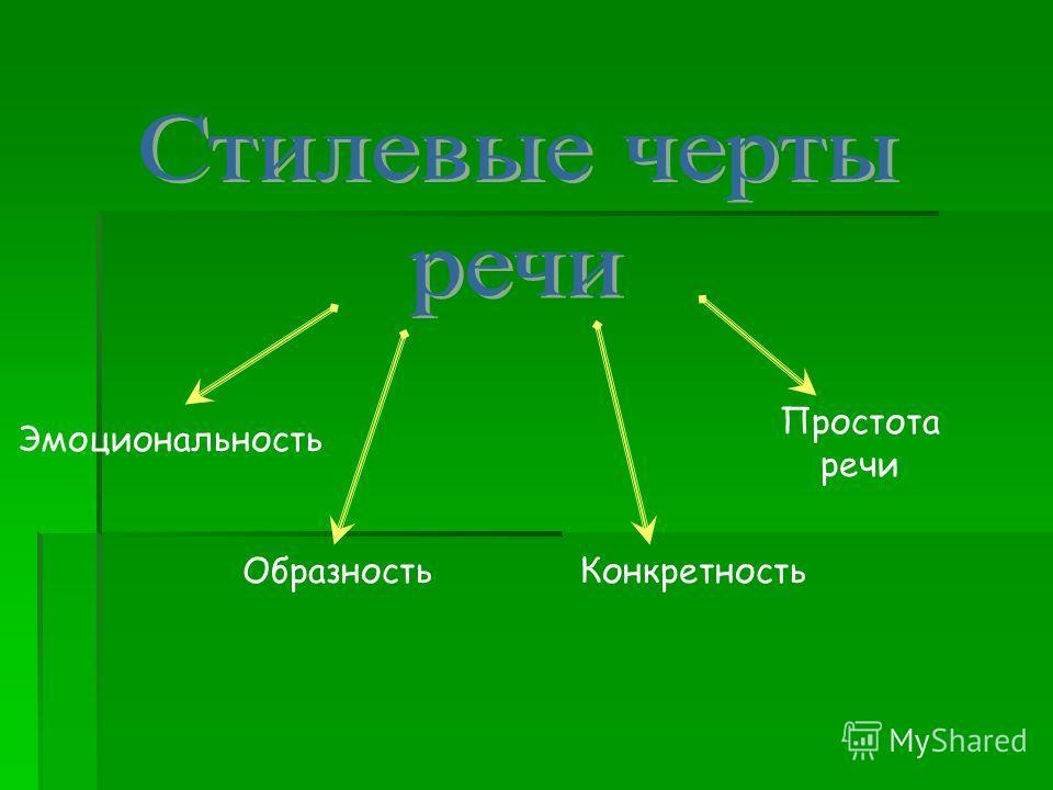 Эмоциональность ОбразностьКонкретность Простота речи