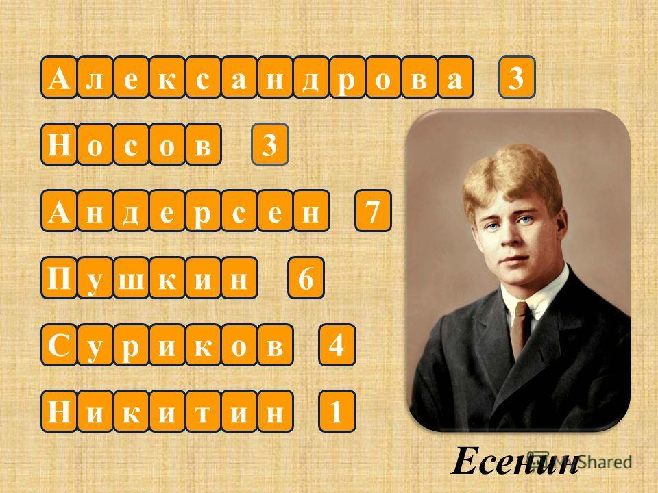 Александрова Носов Андерсен Пушк вСурико ин нНикити 7 3 3 1 4 6 Есенин
