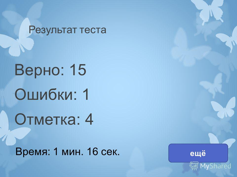 Результат теста Верно: 15 Ошибки: 1 Отметка: 4 Время: 1 мин. 16 сек. ещё