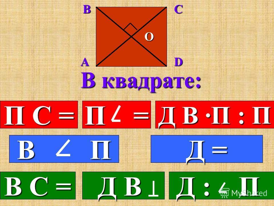 В ромбе: П С = П = Д В ·П : П 3.Все стороны равны. В С = 5.Диагонали взаимно перпендикулярны. перпендикулярны. Д В 6.Диагонали делят углы пополам. пополам. Д : П ABCD O