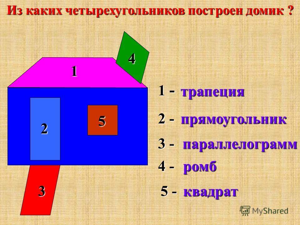Названия четырехугольников. Параллелограмм Трапеция ПрямоугольникРомбКвадрат