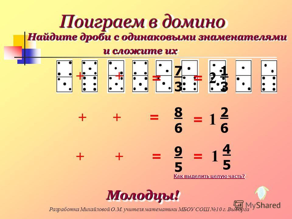 ++ ++ ++ = = = 9595 7373 8686 = = = 2 1313 1 2626 1 4545 Поиграем в домино Найдите дроби с одинаковыми знаменателями и сложите их Молодцы! Молодцы! Как выделить целую часть? Разработка Михайловой О.М. учителя математики МБОУ СОШ 10 г. Выборга