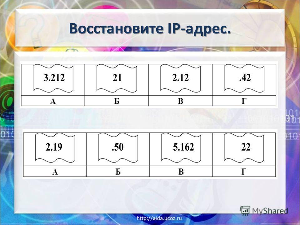 Восстановите IP-адрес.
