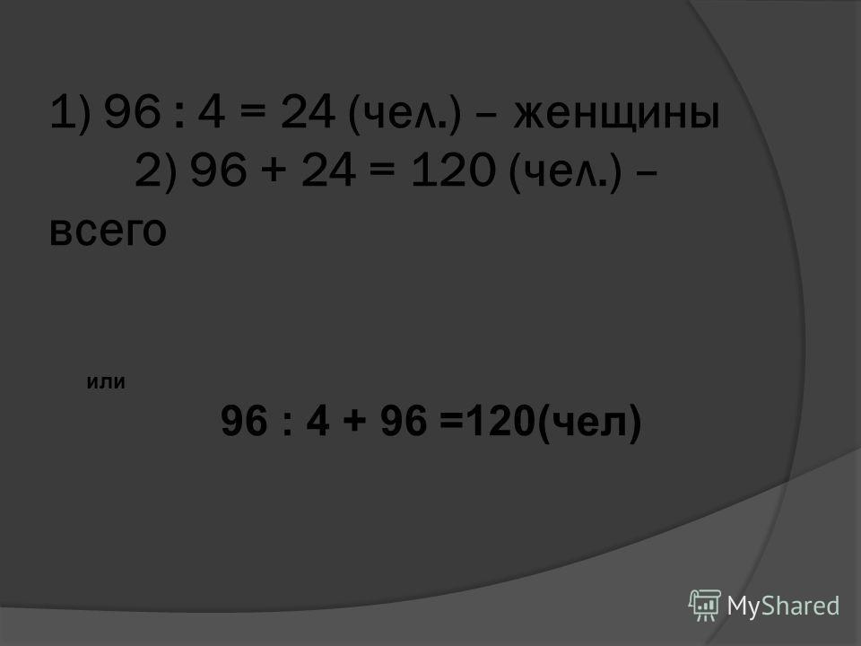 1) 96 : 4 = 24 (чел.) – женщины 2) 96 + 24 = 120 (чел.) – всего или 96 : 4 + 96 =120(чел)