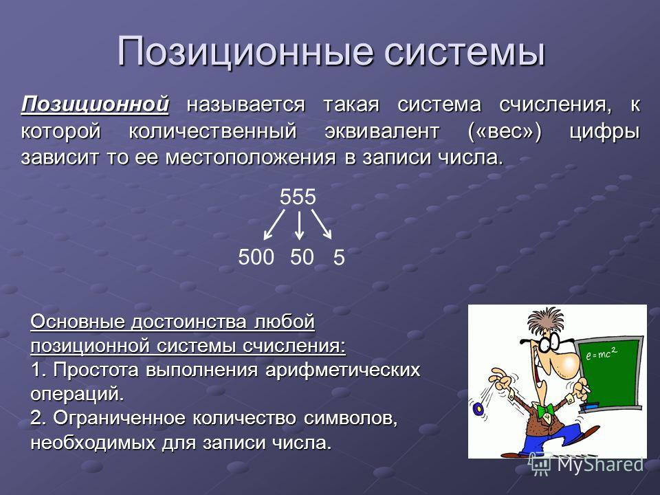 Позиционные системы Позиционной называется такая система счисления, к которой количественный эквивалент («вес») цифры зависит то ее местоположения в записи числа. Основные достоинства любой позиционной системы счисления: 1. Простота выполнения арифме