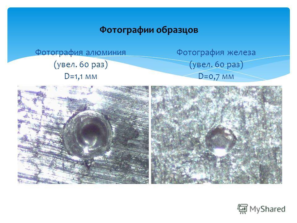 Фотографии образцов Фотография алюминия (увел. 60 раз) D=1,1 мм Фотография железа (увел. 60 раз) D=0,7 мм