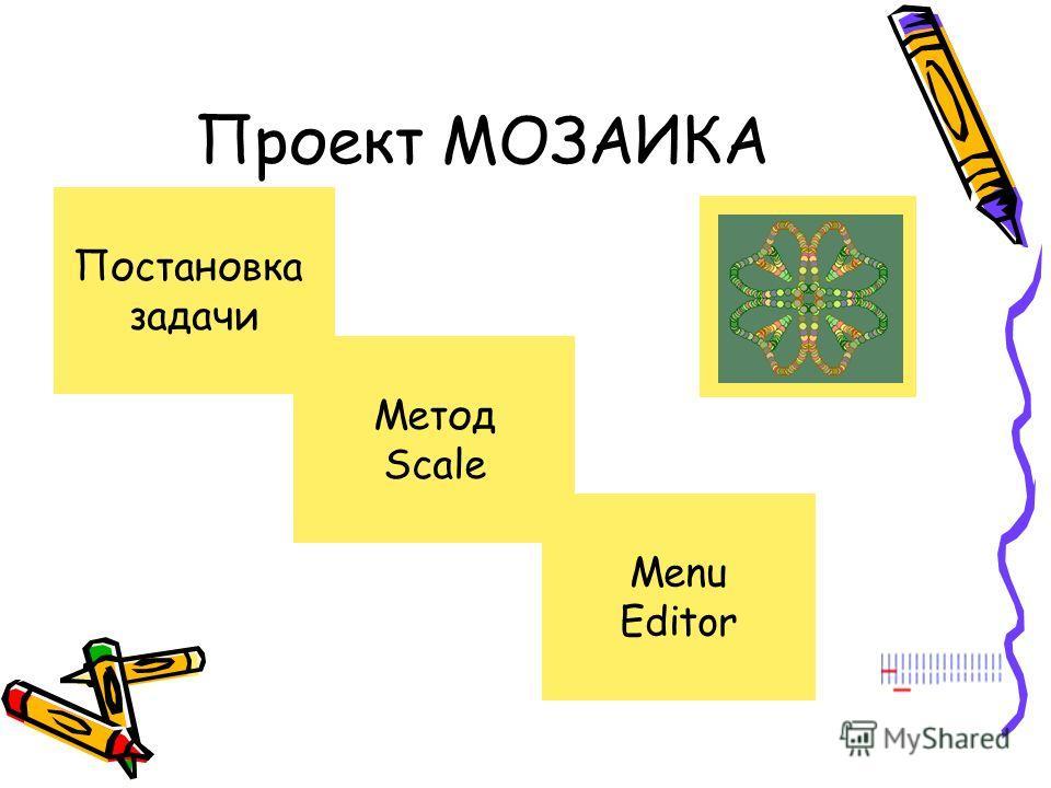 Проект МОЗАИКА Постановка задачи Метод Scale Menu Editor