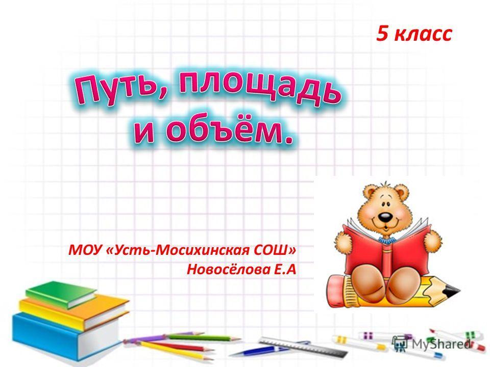 5 класс МОУ «Усть-Мосихинская СОШ» Новосёлова Е.А
