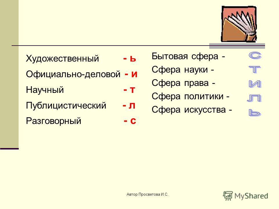 Автор Просветова И.С. Суть стилистики заключается в умении выразить свою мысль по-разному, различными языковыми средствами, что и отличает один стиль от другого. Русский литературный язык и его стили Разговорный стиль Книжный стиль ХудожественныйНауч