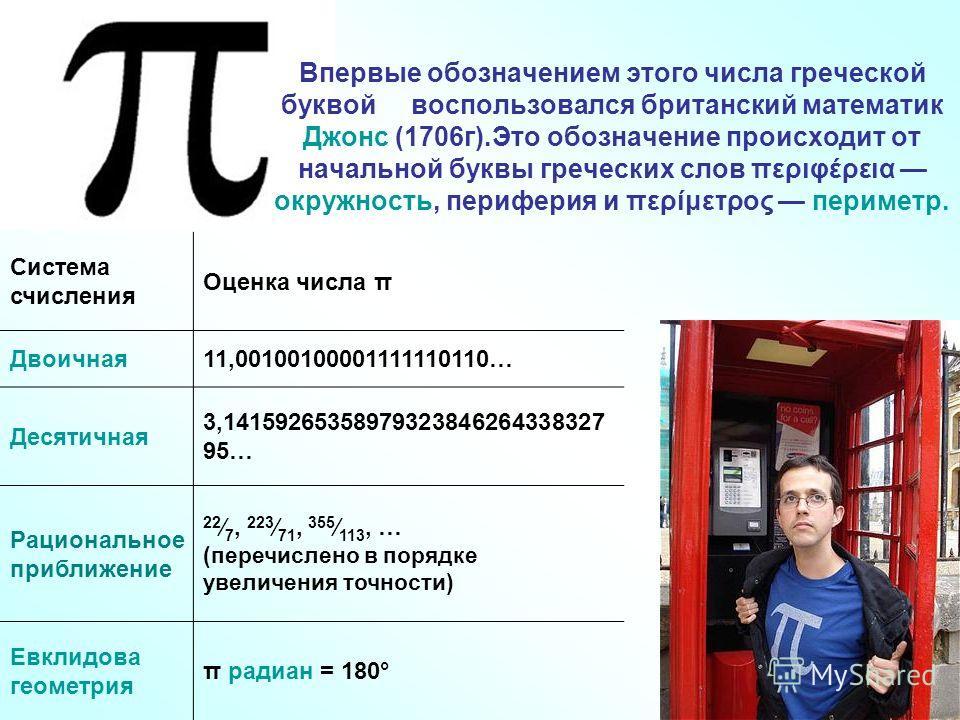 Впервые обозначением этого числа греческой буквой воспользовался британский математик Джонс (1706г).Это обозначение происходит от начальной буквы греческих слов περιφέρεια окружность, периферия и περίμετρος периметр. Система счисления Оценка числа π