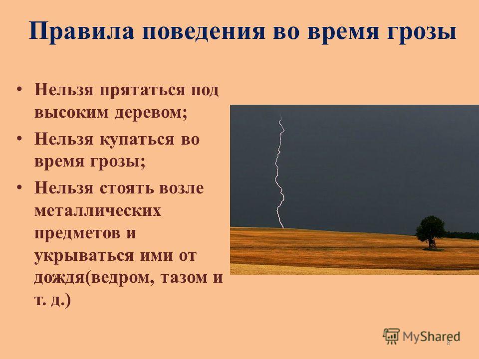 Правила поведения во время грозы Нельзя прятаться под высоким деревом; Нельзя купаться во время грозы; Нельзя стоять возле металлических предметов и укрываться ими от дождя(ведром, тазом и т. д.) 8
