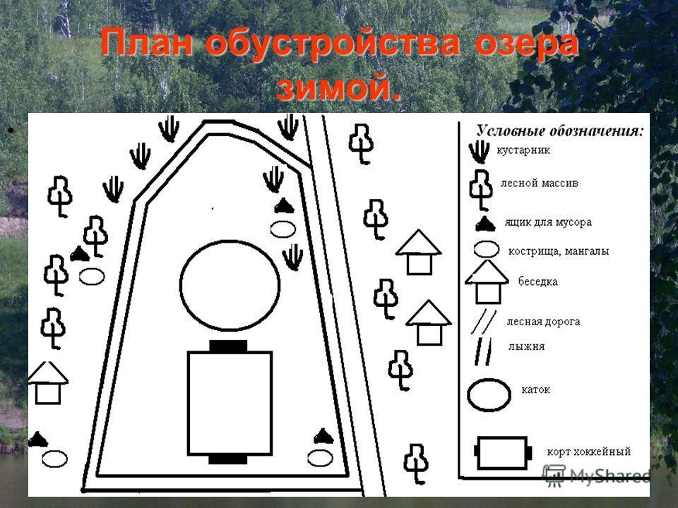План обустройства озера зимой..