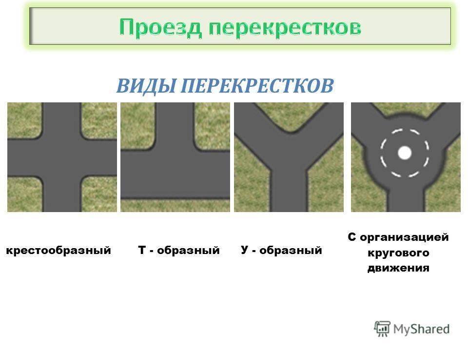 ВИДЫ ПЕРЕКРЕСТКОВ крестообразныйТ - образныйУ - образный С организацией кругового движения
