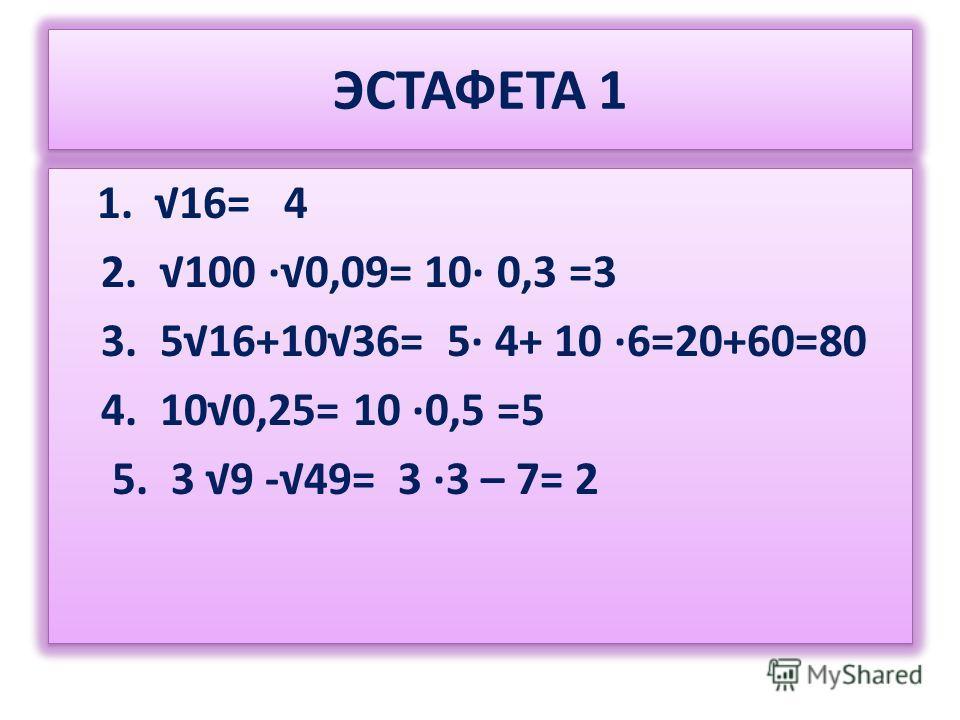ЭСТАФЕТА 1 1. 16= 4 2. 100 0,09= 10 0,3 =3 3. 516+1036= 5 4+ 10 6=20+60=80 4. 100,25= 10 0,5 =5 5. 3 9 -49= 3 3 – 7= 2 1. 16= 4 2. 100 0,09= 10 0,3 =3 3. 516+1036= 5 4+ 10 6=20+60=80 4. 100,25= 10 0,5 =5 5. 3 9 -49= 3 3 – 7= 2