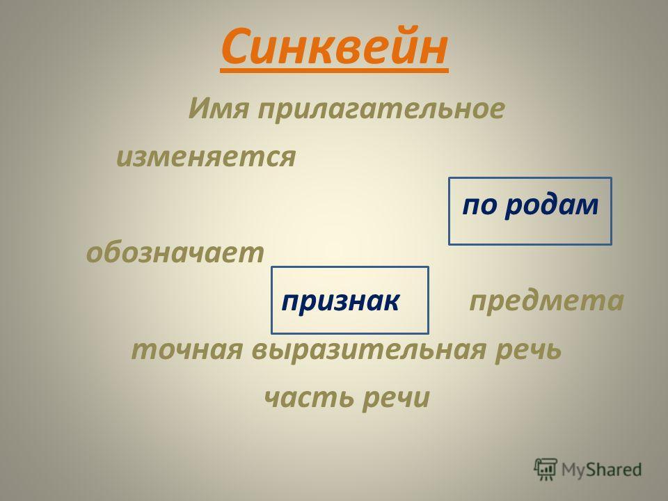 Синквейн Имя прилагательное изменяется по родам обозначает признак предмета точная выразительная речь часть речи