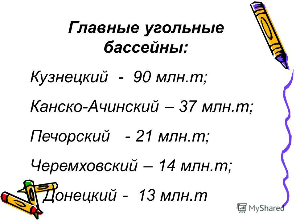 Главные угольные бассейны: Кузнецкий - 90 млн.т; Канско-Ачинский – 37 млн.т; Печорский - 21 млн.т; Черемховский – 14 млн.т; Донецкий - 13 млн.т