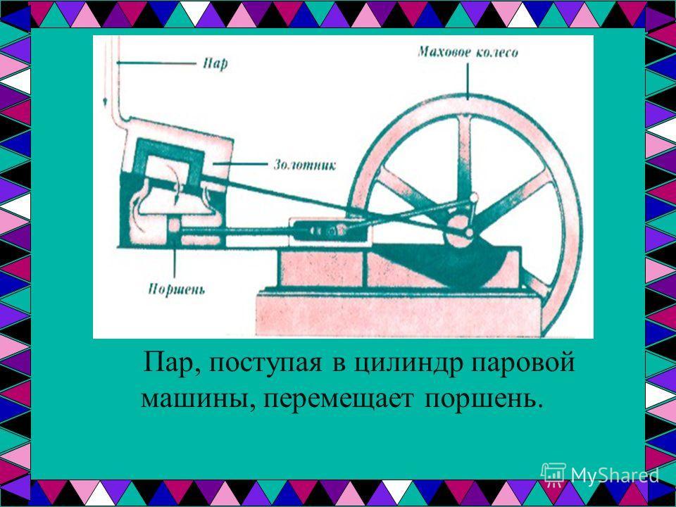 Пар, поступая в цилиндр паровой машины, перемещает поршень.