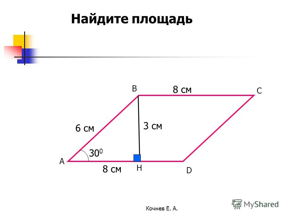 6 см 30 0 8 см А В H С D 3 см Найдите площадь Кочнев Е. А.