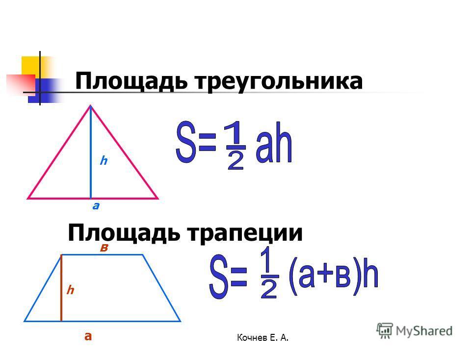 Площадь треугольника Площадь трапеции a h а в h Кочнев Е. А.