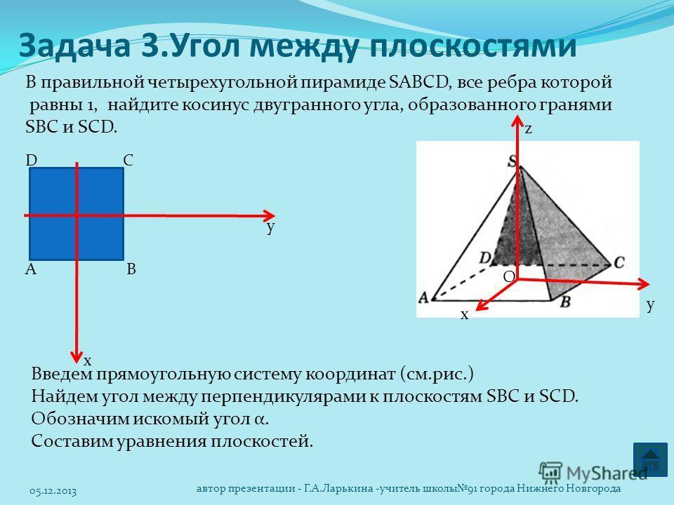Задача 3.Угол между плоскостями В правильной четырехугольной пирамиде SABCD, все ребра которой равны 1, найдите косинус двугранного угла, образованного гранями SBC и SCD. х z у х y АВ СD Введем прямоугольную систему координат (см.рис.) Найдем угол ме