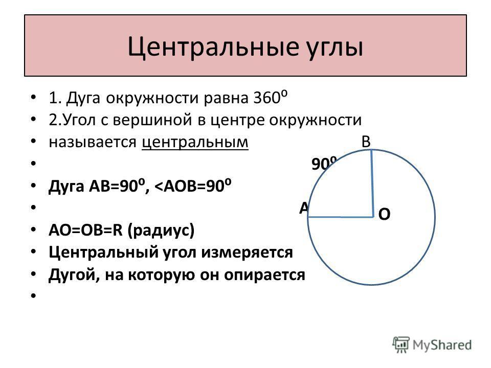 Центральные углы 1. Дуга окружности равна 360 2.Угол с вершиной в центре окружности называется центральным В 90 Дуга АВ=90,