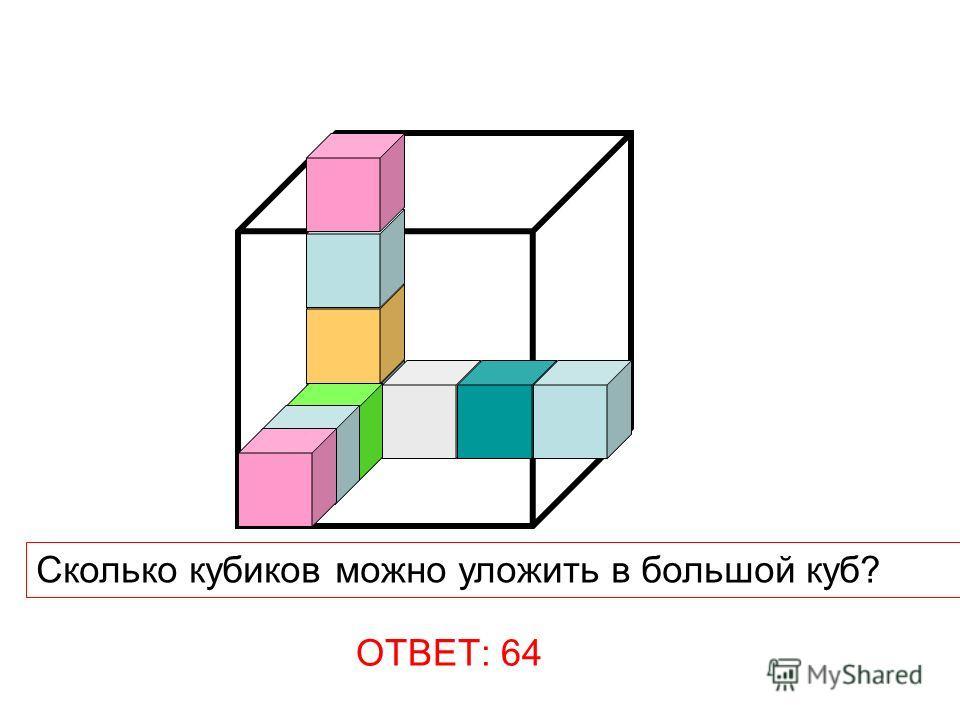 Сколько кубиков можно уложить в большой куб? ОТВЕТ: 64