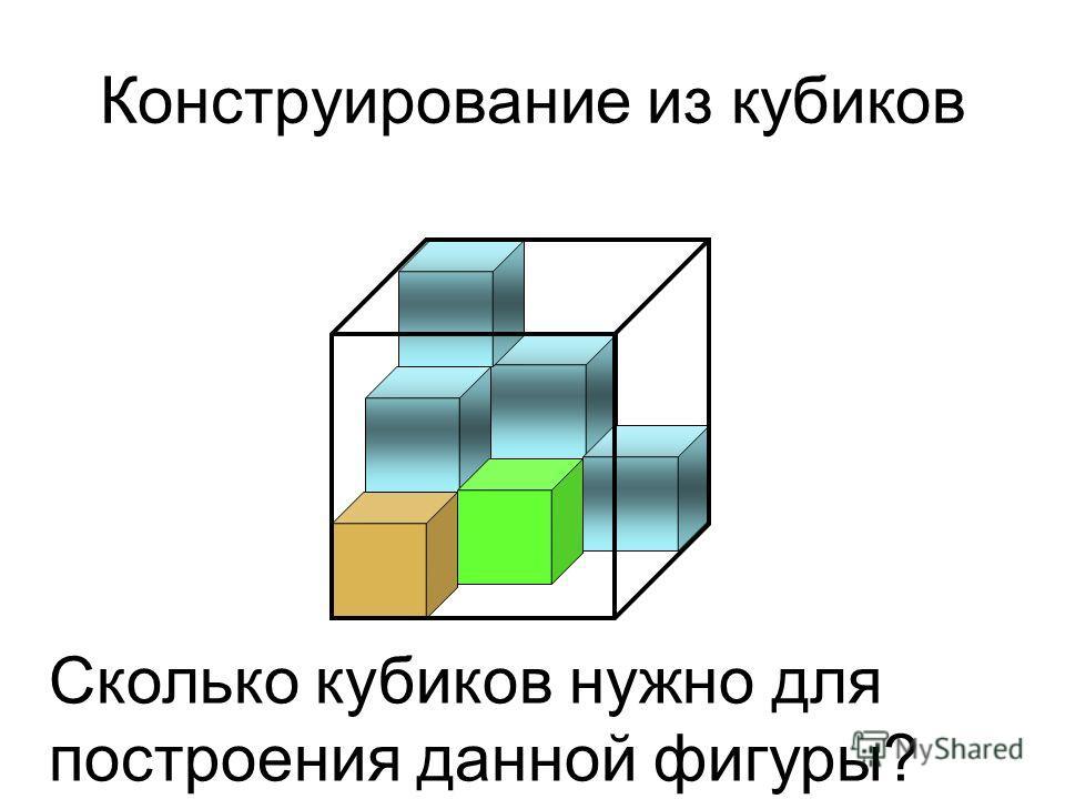 Конструирование из кубиков Сколько кубиков нужно для построения данной фигуры?