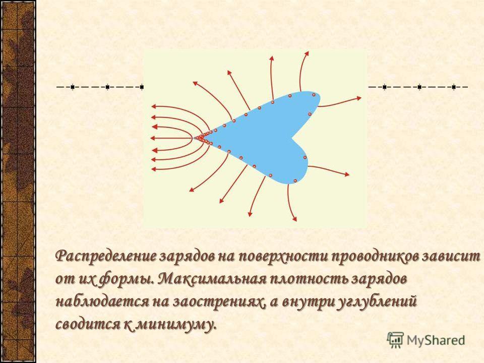 Распределение зарядов на поверхности проводников зависит от их формы. Максимальная плотность зарядов наблюдается на заострениях, а внутри углублений сводится к минимуму.