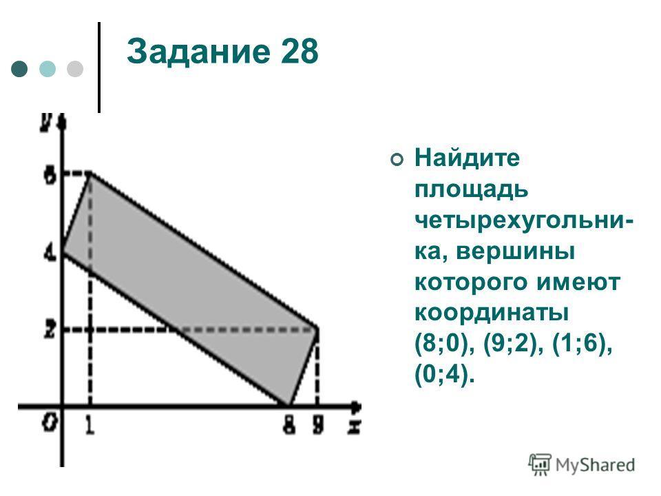 Задание 28 Найдите площадь четырехугольни- ка, вершины которого имеют координаты (8;0), (9;2), (1;6), (0;4).