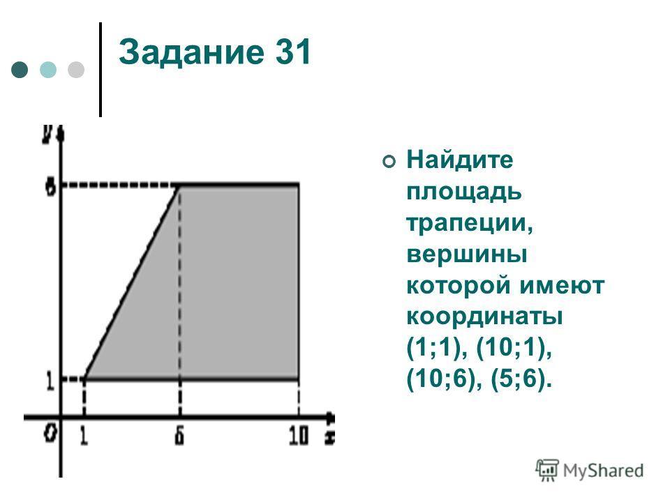 Задание 31 Найдите площадь трапеции, вершины которой имеют координаты (1;1), (10;1), (10;6), (5;6).
