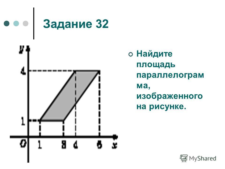 Задание 32 Найдите площадь параллелограм ма, изображенного на рисунке.
