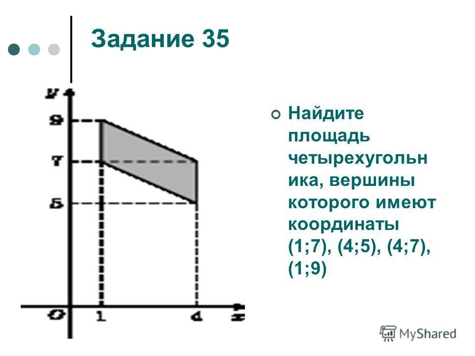 Задание 35 Найдите площадь четырехугольн ика, вершины которого имеют координаты (1;7), (4;5), (4;7), (1;9)