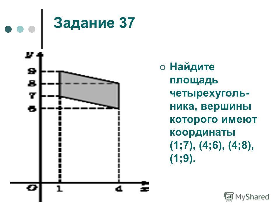 Задание 37 Найдите площадь четырехуголь- ника, вершины которого имеют координаты (1;7), (4;6), (4;8), (1;9).