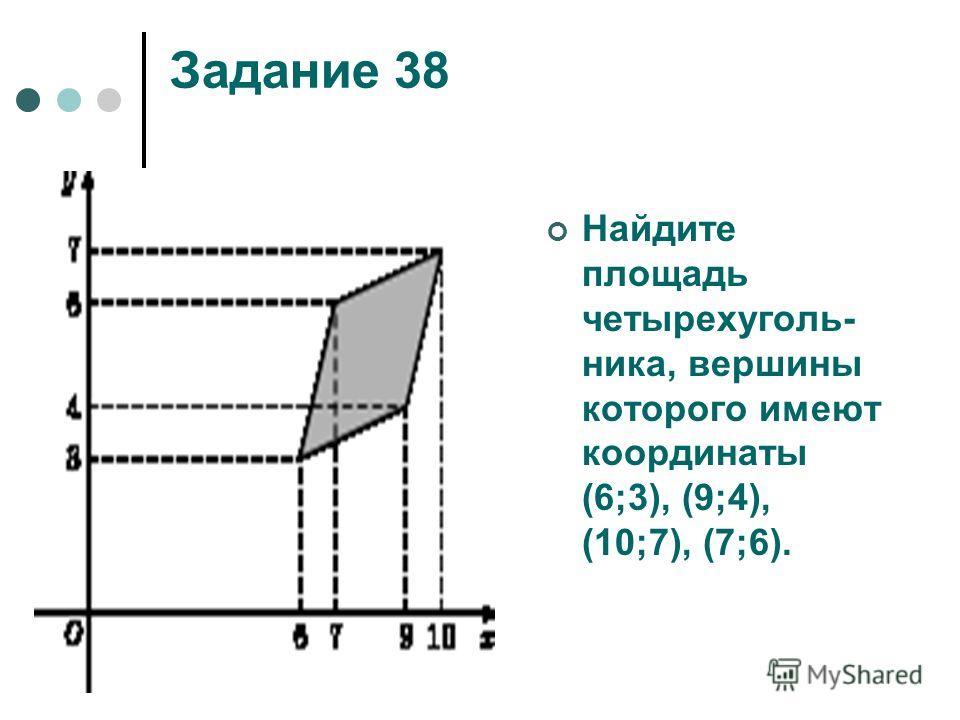 Задание 38 Найдите площадь четырехуголь- ника, вершины которого имеют координаты (6;3), (9;4), (10;7), (7;6).