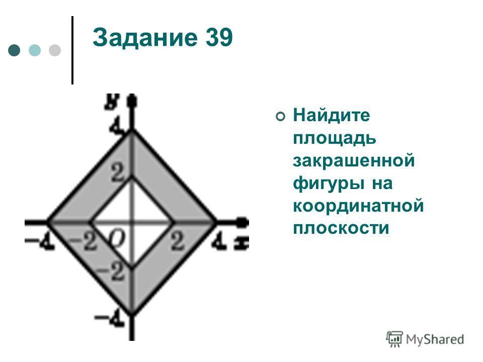 Задание 39 Найдите площадь закрашенной фигуры на координатной плоскости