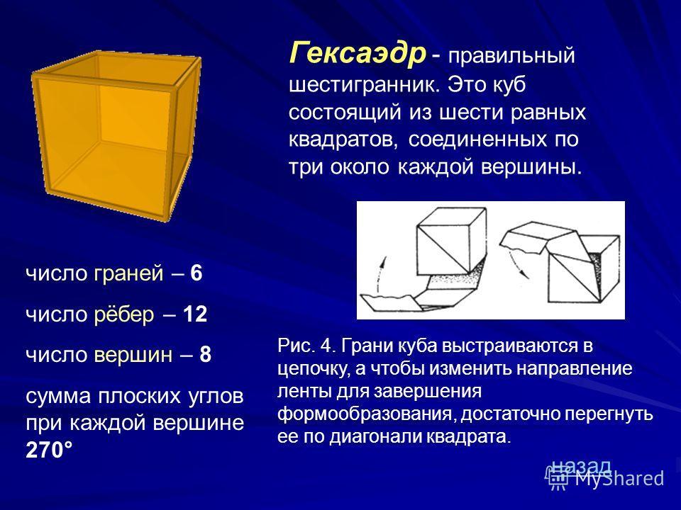 Икосаэдр - Икосаэдр - состоит из 20 равносторонних и равных треугольников, соединенных по пять около каждой вершины. число граней – 20 число рёбер – 30 число вершин – 12 сумма плоских углов при каждой вершине 300° Рис.3. Построение икосаэдра осуществ